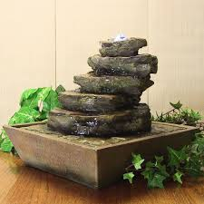 Small Water Fountains For Desk Cascading Rocks Tabletop W Leds By Sunnydaze
