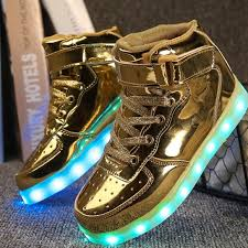 light up shoes gold high top 56 off bright led shoes shoes led light up gold kids poshmark