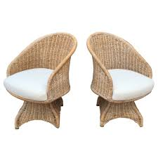 Vintage Rattan Patio Furniture - curvaceous pair of vintage wicker swivel chairs swivel chair