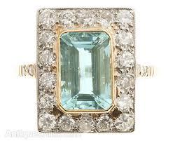 antiques atlas art deco aquamarine and diamond ring c1920s