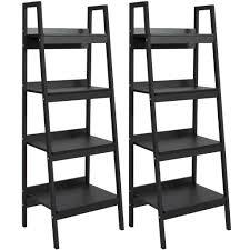 4 tier set of 2 bookcase shelf ladder black u2013 best choice products