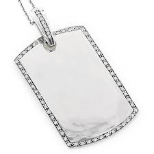 engravable dog tag necklace engravable dog tags for men gold diamond pendant 0 60ct 14k