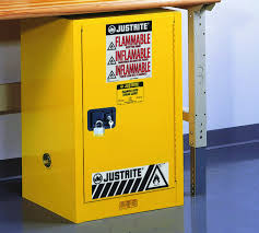 Yellow Flammable Storage Cabinet Justrite 891220 Sure Grip Ex 12 Gallon 35 H X 23 1 4