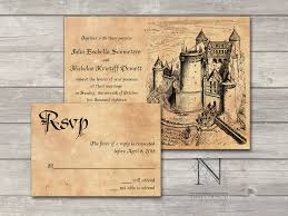 Invitation With Rsvp Card Fairytale Castle Wedding Invitation Set With Rsvp Cards And
