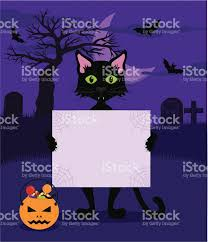 purple and black halloween background black cat on spooky halloween background holding a blank sign