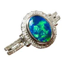 rings with opal images Green blue opal ring with diamonds 14k gold flashopal jpg