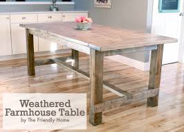 the friendly home weathered farmhouse table using pocket hole