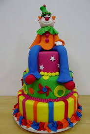 colorful cakes tier colorful cake clown sitting jpg