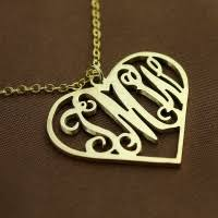 Single Initial Monogram Necklace Initial Monogram Personalized Heart Necklace
