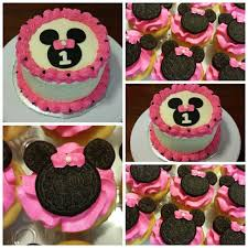 1st birthday minnie mouse smash cake and minnie mouse cupcakes