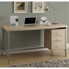 Metal Shop Desk Taylor Hollow Core Office Desk Silver Metal And Natural Reclaimed