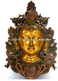 Tibetan Home Decor Buddha Lady Wall Hanging Bronze Sculpture Tara Buddha Mask Art