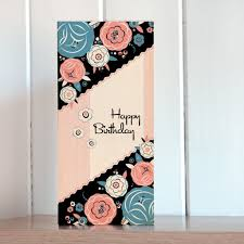pink floral tall birthday card karenza paperie