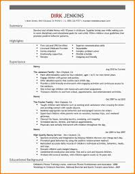 Resume Bio Template 7 Babysitting Bio Example Nypd Resume