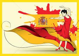 spain flag with flamenco dancer vector image 1571297