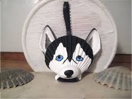 black and white husky ornament hand painted seashell dog ornament