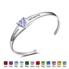 custom birthstone bracelets custom heart birthstone bracelets cuff bangles bangles engrave