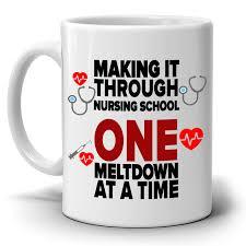 funny nurse gifts coffee mug making it through nursing one