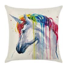 taie d oreiller pour canapé coloré peinture animaux licorne oiseau taie d oreiller housse de