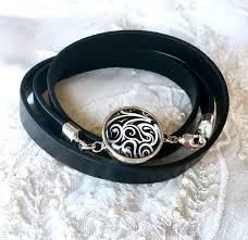 charm bracelet leather images Black leather noosa style bracelet ginger snap basketball snap jpg