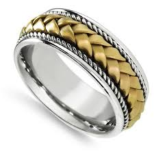 2 wedding bands 18k two tone gold men s woven handmade comfort fit 2 rope wedding