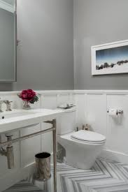 contemporary powder room with paint 1 console sink ann sacks