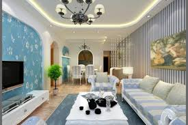 mediterranean style living room with interior modern blue gallery