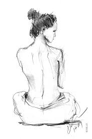 drawn woman back body part pencil and in color drawn woman back