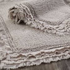 Cotton Bathroom Rugs Frayed Edge Dove Gray 21x34 Bath Rug Bath Rugs Bath And Cotton