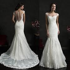 goddess wedding dresses lace mermaid cap sleeve bridal gowns