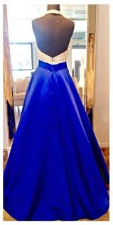 new arrival halter neck prom dresses royal blue puffy long formal
