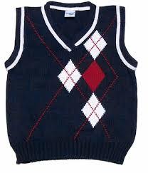 boys navy blue v neck sweater vest with white red argyle design