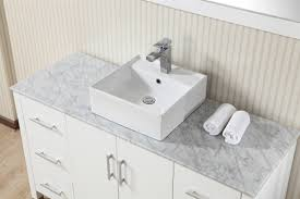 55 inch modern single vessel sink white vanity cabinet