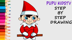 how to draw elf on a shelf coloring pages with art colors for kids
