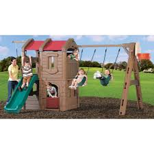 step2 naturally playful adventure lodge play center swing set