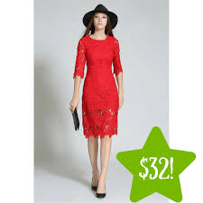 sears tomcarry women hollow slim style red dress only 32 reg
