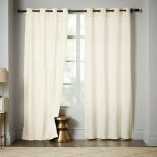 Ivory Linen Curtains Opaque Linen Curtain With Grommets 124 Ivory West Elm