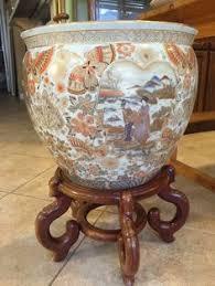 18in hand painted satsuma design fishbowl home decor pinterest