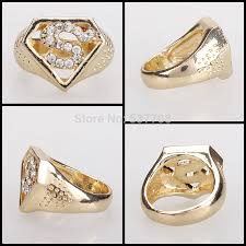 Superman Wedding Ring by New 2014 Hip Hop Vintage 18k Gold Punk Superman Crystal Wedding