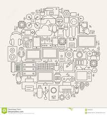 gadgets and devices line icons set circle shape stock vector