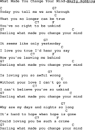 what is chagne made of country music what made you change your mind marty robbins lyrics