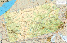 Map Of Pennsylvania Towns by Physical Map Of Pennsylvania Ezilon Maps