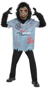 Undead Halloween Costumes Chimp Zombie Boys Fancy Dress Halloween Undead Animal Ape Kids