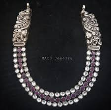 necklace pink stone images 3 line white pink stone nakshi peacock necklace macs jewelry jpg