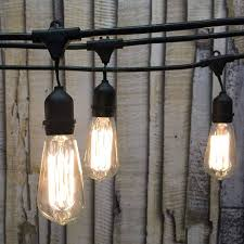 Edison Bulb Patio String Lights 48 Ft Black Commercial Medium String Light W Suspender With St58