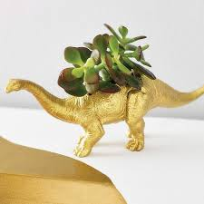 diplodocus dinosaur planter with plant by dingading terrariums
