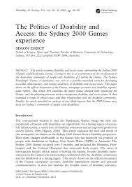 the politics of disability and access the sydney 2000 games
