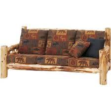 cedar log frame sofa cabin place