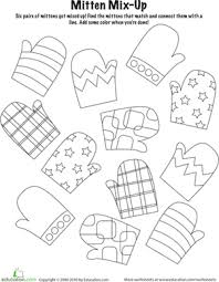 mitten mix and match worksheet education com