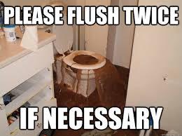 Meme Toilet - please flush twice if necessary toilet terror quickmeme
